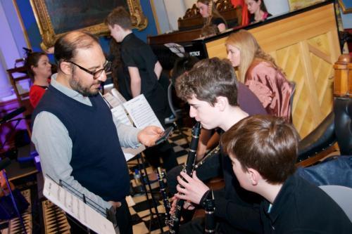 Clarinet - Senior teacher Antonello D'Orazio mentoring his students before performance